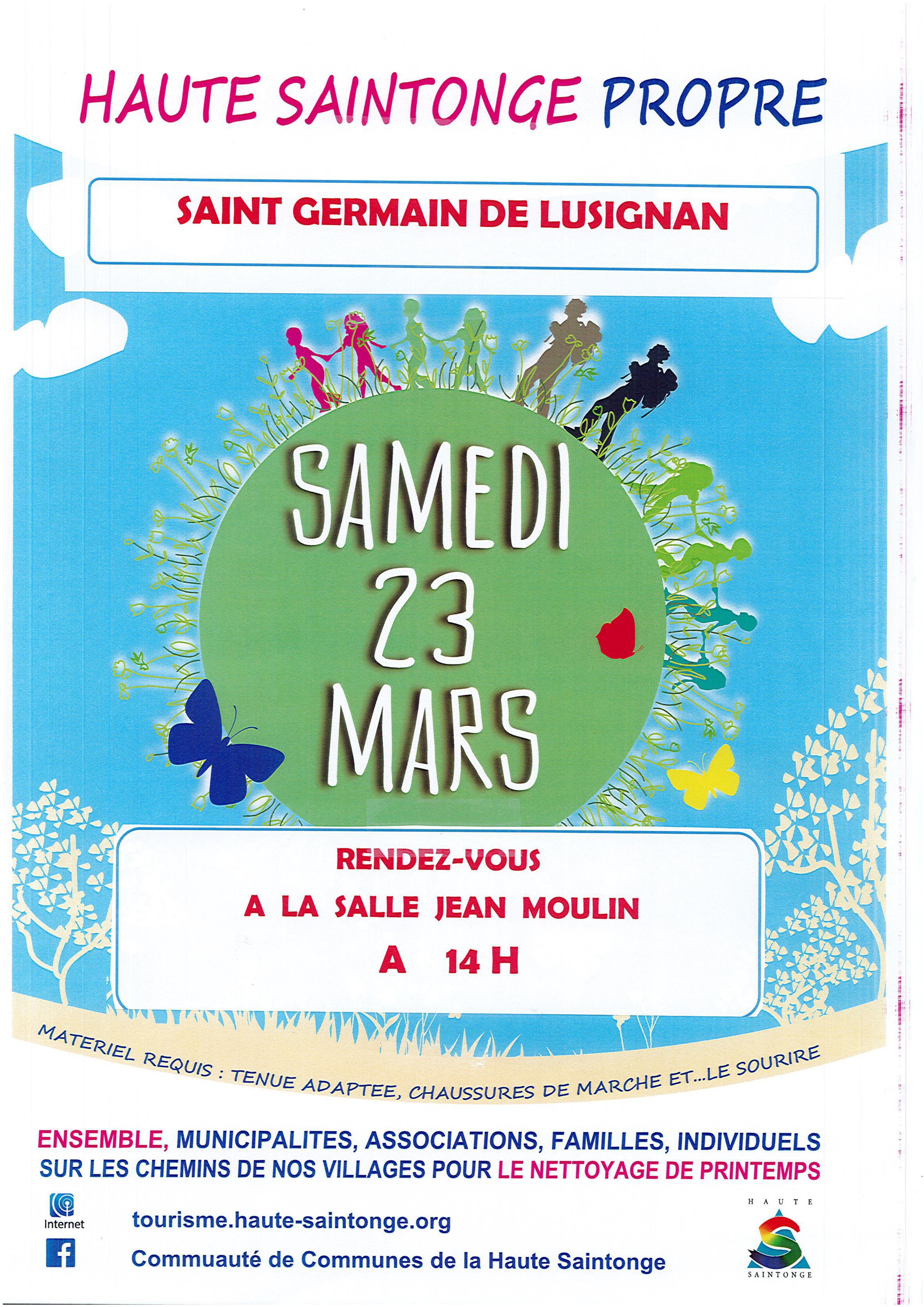 Haute Saintonge propre – 23 mars – 14h